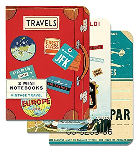Cavallini Papers & Co Mini Notebooks Vintage Travel Mini Notebooks Packaged Together As One Set, 4 x 5.3