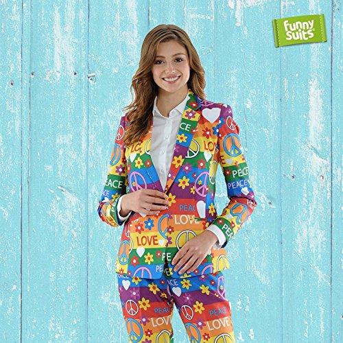Funnysuits Peacemaker 60er Damen Anzug Rainbow Flower Power 2-Teiliges Kostüm Deluxe EU Size - Peace Out Hippie Kostüm