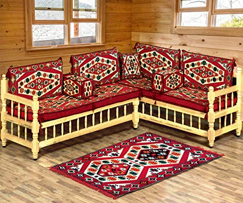 Spirit Home Interiors–Árabe majlis de Asiento Grupo, rinconera para salón Muebles de terraza, Muebles de sofá para música Educación Superior, Crean, con Kelim de Alfombra, Crean sitzecke