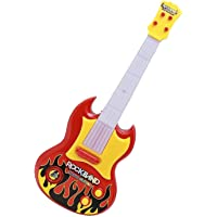 Sshakuntlay® Guitar Toy, 17 inches, Battery Operated with Music and Lights, Red Yellow