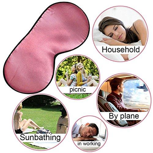 Lifebee Masque des Yeux pour Dormir 100% Soie Naturelle Occultant Ultra-Douce Masque de Sommeil Lanière Réglable Rosé