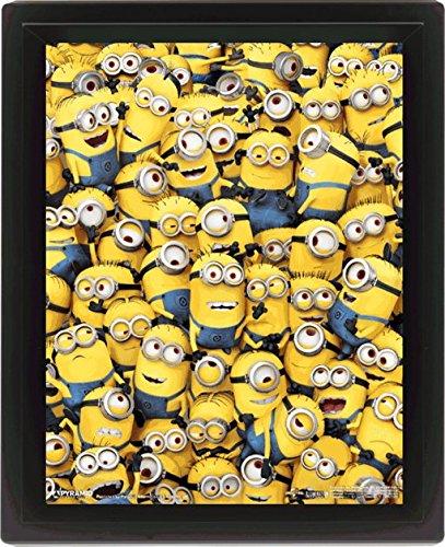 Cattivissimo Me - Poster 3D in cornice, motivo: tanti Minion, 25,4 x 20,3 cm, multicolore