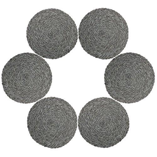Juego de 6 manteles individuales de polipropileno trenzado con forma de cruz y algodón, de U'Artlines