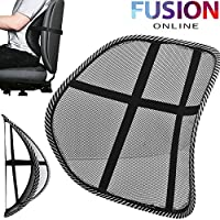 Fusion Online MESH BACK SUPPORT LUMBAR LOWER BACK CUSHION PAIN RELIEF LUMBER CAR SEAT OFFICE