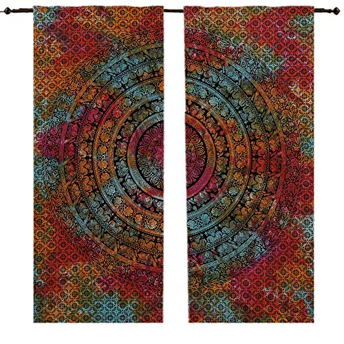 Tye Dye Chopra Cortina de pared con diseño de flores y elefantes,...