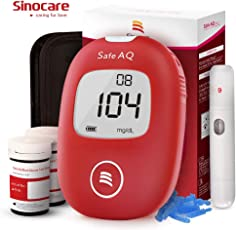 Blutzuckermessgerät Set Codefree - Safe AQ Smart - mit 50 Teststreifen 50 Lanzette Stechhilfe für Diabetes mg/dL
