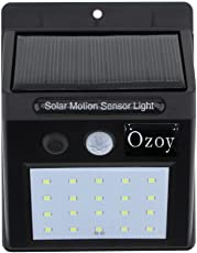 Ozoy 20 LED Weatherproof Wireless Security Wall Solar Light with Motion Sensor, Small(Black)