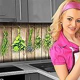 Küchenrückwand < Holzwand Kräuter > Premium Hart-PVC 0,4 mm selbstklebend 340x60cm