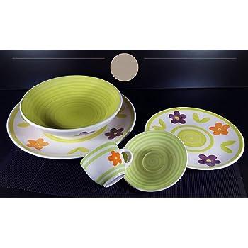 Albal italia servizio piatti da tavola colorati in ceramica di design shabby chic 6 persone - Piatti da cucina moderni ...