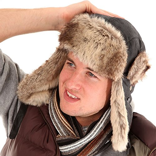 Mens Tracker Trapper Bomber Aviator Air Russian Army Fake Fur Ear