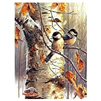 Decdeal Diamond Painting Tree Birds Full Drill C-ross Stitch Kit Home DIY Wall Decor Gift