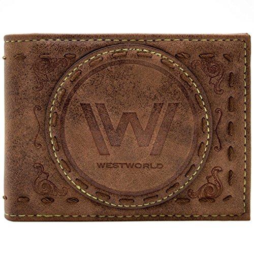West World gesticktes Patch-Logo Braun Portemonnaie -