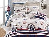 LaModaHome - Juego de funda de edredón de 2 piezas para dormitorio individual y doble, de colores suaves, 65% algodón, 35% poliéster, para cama individual, diseño de barco marinero de Hello Sailor, color azul y rojo