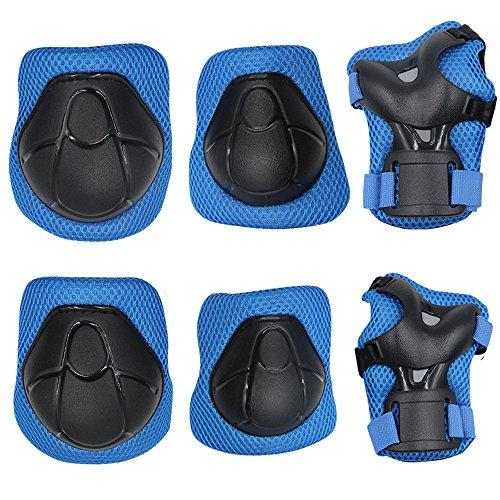 G-i-Mall kinder Protektoren Set - Kind's Knieschützer Ellenbogenschützer Handgelenkschoner Schutzset für Roller Skaten Skateboard Radfahren (Blau)