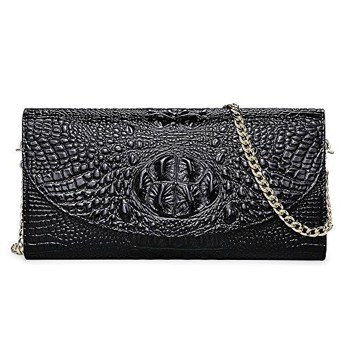 IACON Krokodil Textur Damen Clutch Tasche Leder Mini Geldbörse Brieftasche Handschlaufe Unterarmtasche Schultertasche Handtasche Damentasche Citytasche Abendtasche für Veranstaltung Fest