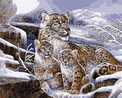 CaptainCrafts Neu Malen Nach Zahlen 16x20 für Erwachsene Anfänger Kinder, Kinder Leinwand - Drei Schnee Leopard Familie Baby - Weihnachten Valentinstag Geburtstag Das Beste Geschenk (mit Rahmen)