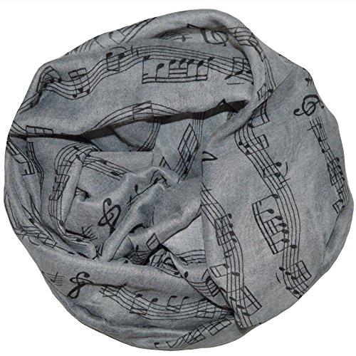 thb Richter Damen Schlauchschal Musiknoten Musik Rundschal Notenschlüsse Loopschal Kunst (grau)