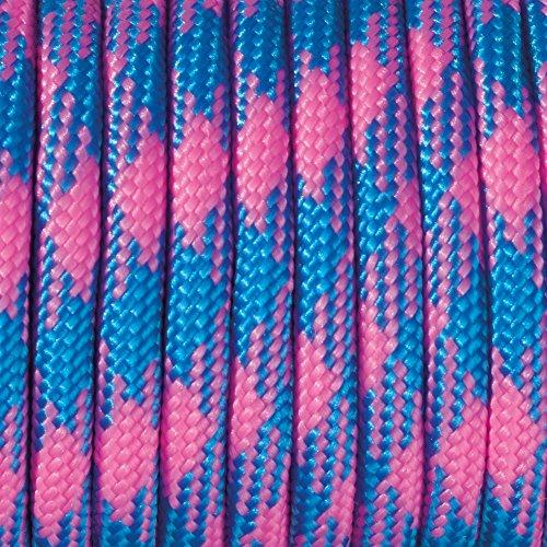 Paracord 4 mm x 50 m de Couleurs du Rose Vif/Bleu Azur
