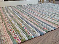 Pale Multi Colours Pastel Rag Rug 75cm x 135cm Indian Recycled Cotton Chindi by Second Nature Online