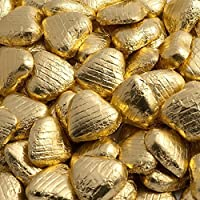 100 Foiled Solid Belgian Milk Chocolate Heart Shaped Sweets Weddings Valentines (Gold)