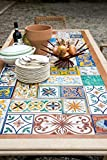 """dafnedesign. com–Table with Mosaic Garden and the Tavern Mod.""""Myrtle Rectangular 200x 100, h 75cm, with Travertine and Hand Decorated with Mosaic Tiles Of Cooked with Plan (Chairs Not Included)"""