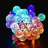 Delaman LED Solarenergie Lichterkette 30 Kristallkugelbälle Bunt Licht für Party Weihnachten Feiertage Beleuchtung Romantisch Dekoration, Länge 4,5m (Color : Colorful)