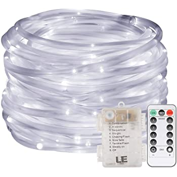 LE LED Dimmable Rope Lights 10m 120 LEDs Waterproof 8 Modes Battery Powered String Lights for Garden Patio Party Christmas Outdoor Decoration Daylight White