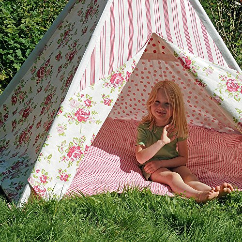 HAB & GUT (ZK001) TEEPEE - hochwertiges Stoffzelt für Kinder, Blumenmuster pink/weiss, Höhe 135 cm, 183 cm - Holzstangen, Baumwolle, Indoor
