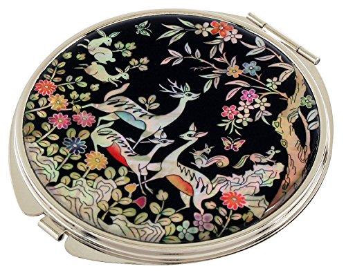 Mère de Pearl Deer Double miroir de poche compact Sac à main Loupe de maquillage beauté
