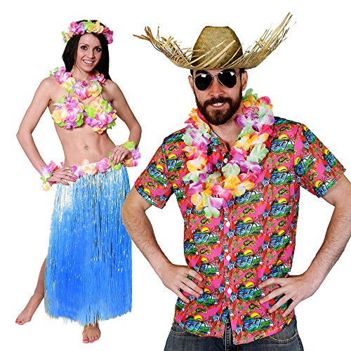 ILOVEFANCYDRESS Hawaii KAPITÄN=Paare KOSTÜM Verkleidung= 5 GRÖSSEN-Rosa Hemd=BASTROCK 80 cm Lang+ Hula BH+ Lei Sets+Hawaii Hemd + Beachcomber Strohhut +Brille =Large+ BASTROCK -Blau -