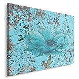 Feeby BLUME Bild auf Leinwand Größe: 80x60 cm, 1 Teilig Leinwanbild Wandbild Kunstdrucke Wanddeko NATUR BLAU