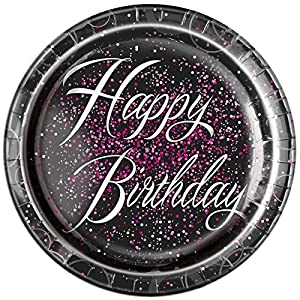 Unique Party Paquete de 8 Platos de Papel de cumpleaños, Color Rosa metálico Brillante, 23 cm (57475)