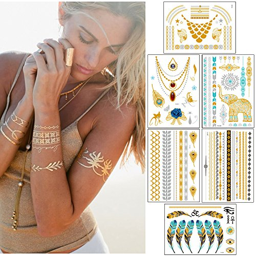 ndier 15 pcs temporäre Tattoos - Luxus Metallic Gold & Silber Sofort Jewelry Feder Tattoos - Abnehmbarer Wasserdicht, Glitter Body Art Aufkleber für Frauen Teen Mädchen
