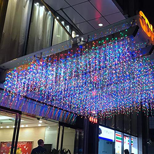 LED Vorhang Lichter, LONJY 13.1FT / 4M 96 LEDS 8 Modi erweiterbar Twinkle Icicle Plug in Fairy String Weihnachtsbeleuchtung für Schlafzimmer Terrasse Hof Garten Hochzeit Party (4M 96LED, Multicolor)