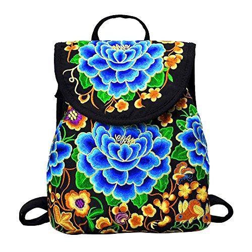 OCHENTA Mädchen Rucksack Stickerei Retro Stil Taschen Farbe E