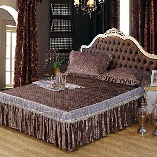 Parler Couverture de lit,Jupe de lit,Pièce Simple Épais Matelasse Couverture de lit,Anti-dérapant Housse de Protection-D 150x200x45cm(59x79x18inch)