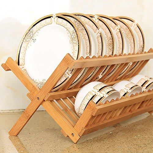 Bambou Cuisine Plat Rack Bowl Et Dish Draining Rack Double Couche ( taille : 20 grid )