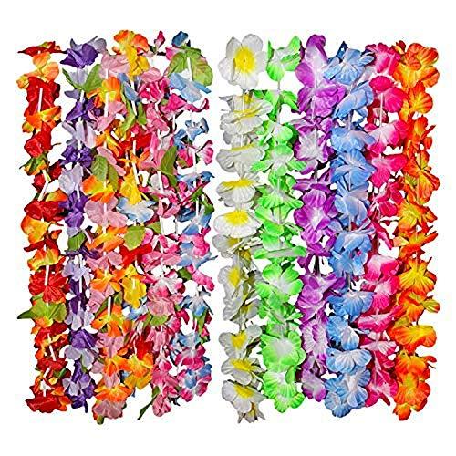 Kurtzy Hawaii Deko Blumen Girlanden im 36er Set - 50cm Tropische Hawaiikette Gekräuselter Leis Blumenkranz Luau Party Set, 6 Bunte Verschiedene Blumenketten Designs Ideal für Kostüm, Strand Motto (Luau Motto Party Kostüm)