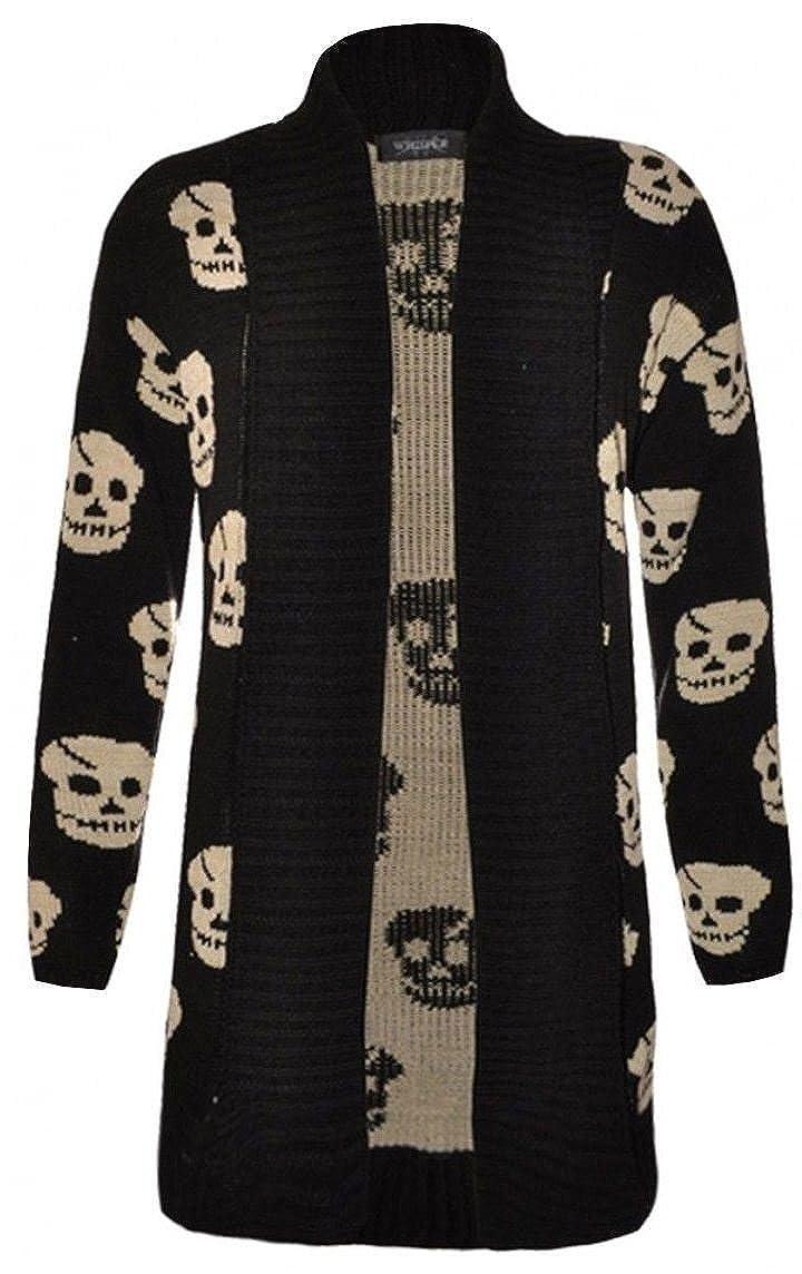 New Womens girl Knitted Owl Skull Scary Horror Halloween Boyfriend Cardigan Top