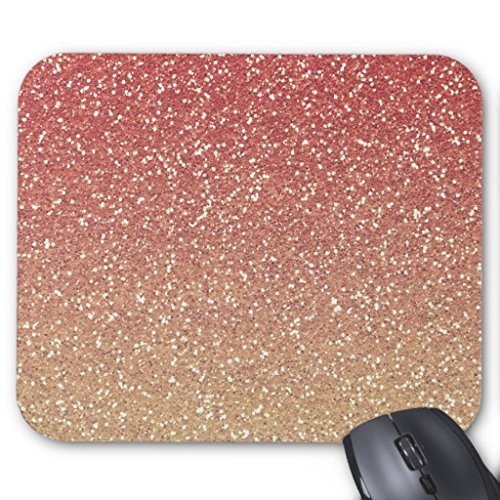Rechteck Gaming Mousepad Coral Pink und Gold Faux Glitzer Maus Pad