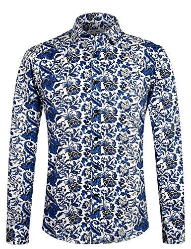 APTRO Herren Fashion Baumwolle Mehrfarbig Luxuriös Blumen Langarm Shirt APT1012 XL (Honolulu Hawaiian Shirt)