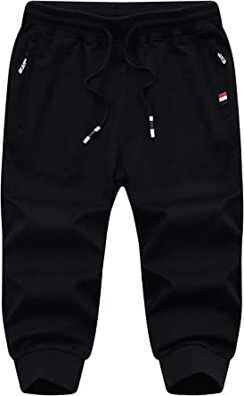 JustSun Mens 3/4 Shorts Cotton Sports Shorts with Elastic Waist Zipper Pockets