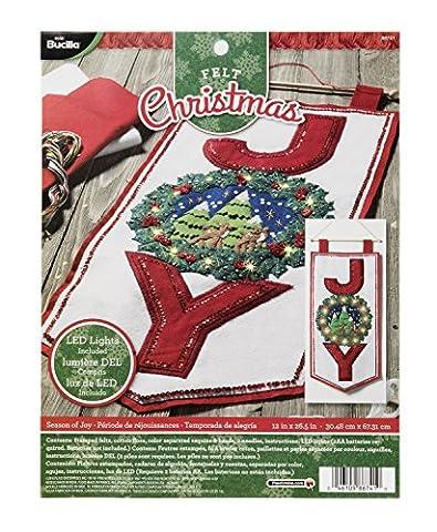 "Season Of Joy Wreath Wall Hanging Felt Applique Kit-12""X26.5"""