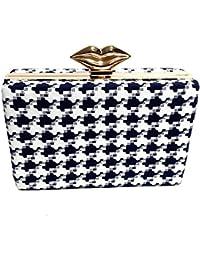 Arisha Kreation Co White And Blue Smart Summer box Clutch Using Cotton Fabric (White)