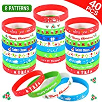 Tacobear 40pcs Christmas Silicone Bracelets Xmas Wristbands Rubber Band Advent Calendar Fillers Christams Party Favors Christams Gifts for Kids Adults