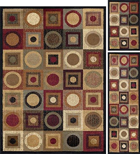 Universal Teppiche Peyton Geometrische modernes Rechteck Accent Bereich Teppich, Mehrfarbig, 152x 213/50x 152/50x 81cm, 3-teilig -