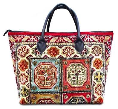VOYAGER ELITE Aztec - Fourre-tout Vintage-Style grand Tapis Sac et large avec des poign'es en cuir et fermeture 'clair