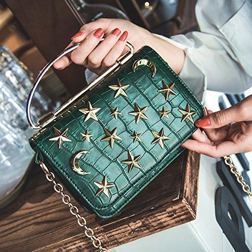 Weibliche mode Krokodil Muster kleine paket Schulter Schräge Kreuz handkette kleine quadratische tasche Grün