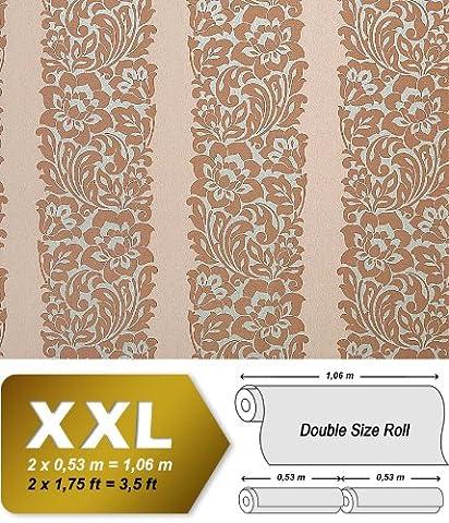 Blumen Tapete Vliestapete EDEM 910-33 Präge-Struktur Tapete Blätter Barock Streifen braun beige silber 10,65 qm