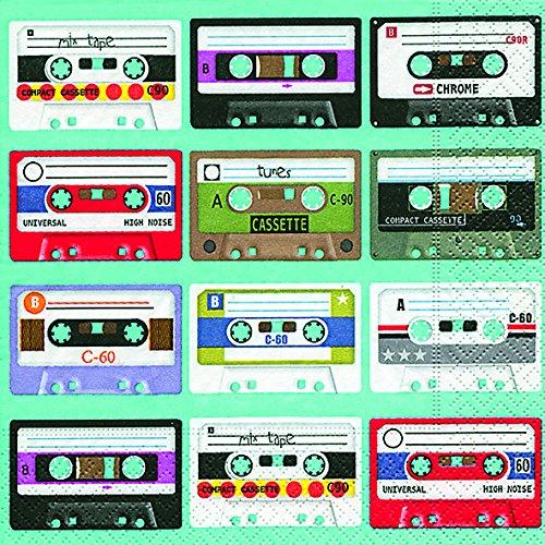 20 Servietten Music is in the Air - Kassettensammlung  / Musik / Retro 33x33cm